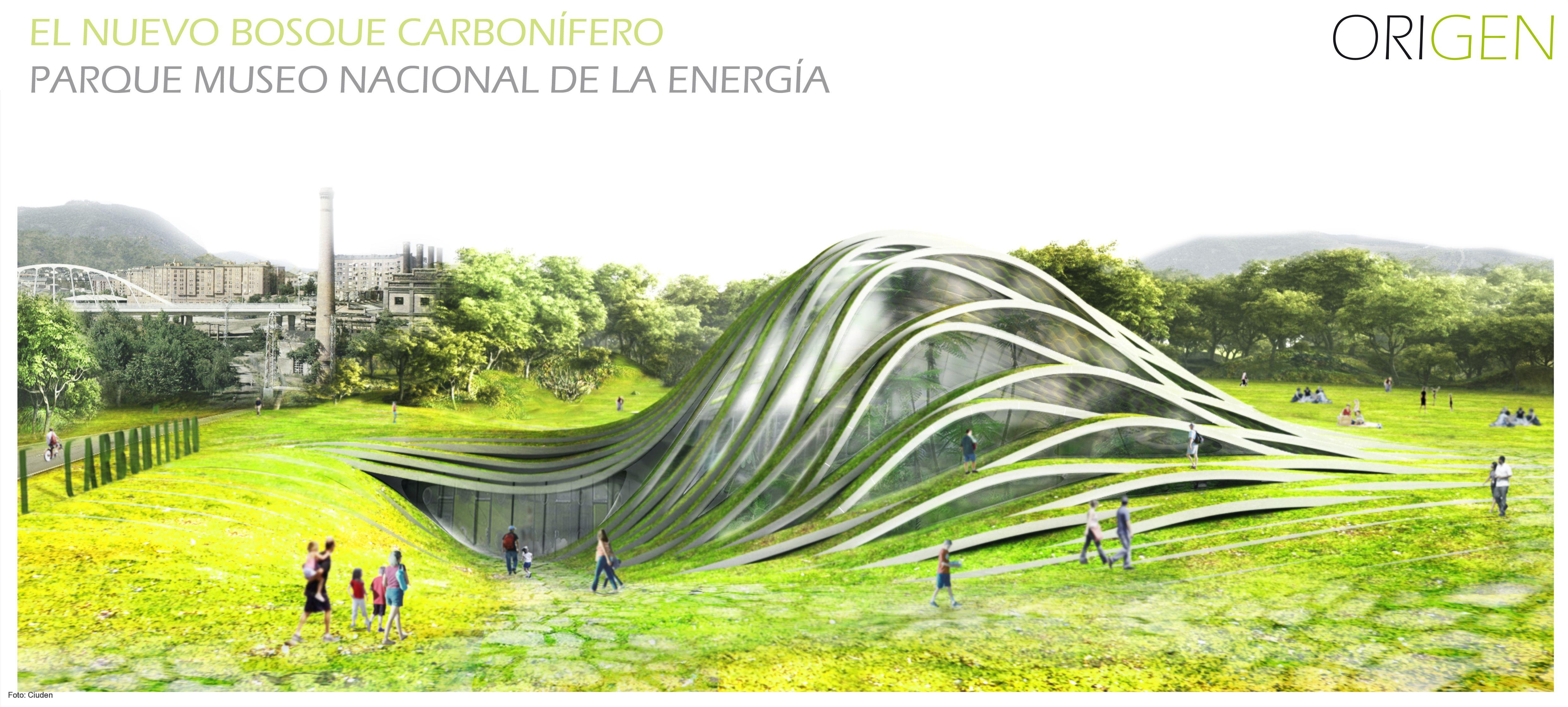 Recreación del proyecto Origen para el bosque de carbonífero del Museo Nacional de la Energía en Ponferrada.