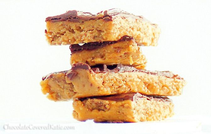 Homemade Butterfingers that are secretly GOOD for you?!   These addictively delicious snack bars have the same toffee-like crunch as real Butterfingers... and they are whole-grain, high in iron, and completely free of high fructose corn syrup!  Recipe link: http://chocolatecoveredkatie.com/2012/10/18/healthy-butterfingers/