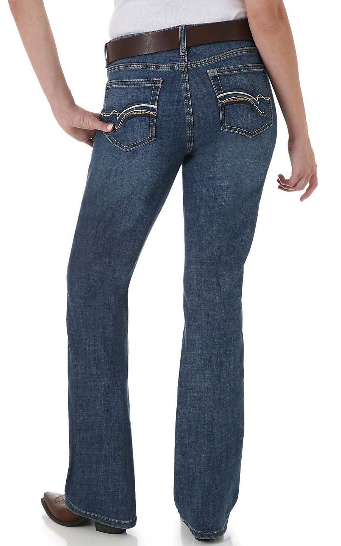 195c4b9a89 Wrangler Aura Ladies Swirl Embroidered Pocket Medium Wash Slender Stretch  Jean