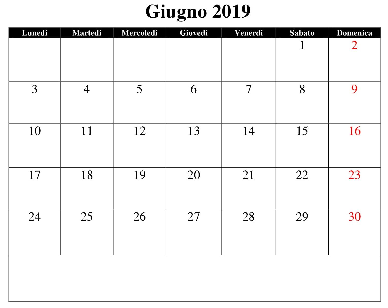 Magnificent Giugno Calendario 2019 Pdf Calendario Giugno 2019 June Beutiful Home Inspiration Truamahrainfo