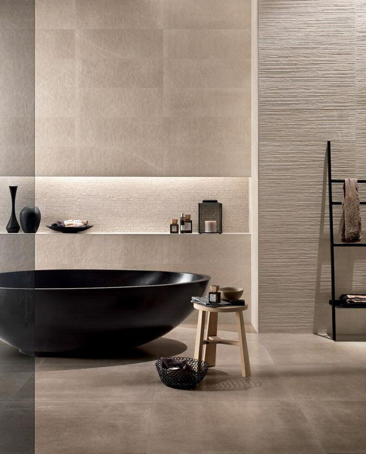 Badezimmermobel Schwarz Beige Elegant Schlicht Bathroom Style