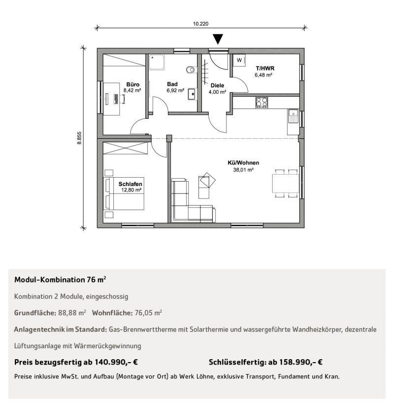 Wohnen über 50 qm Grundriss, Wohnen, Fertighäuser