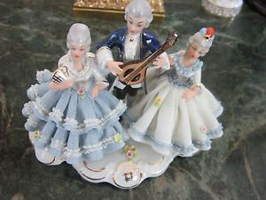 Dresden Lace Sandizell West Germany group figurine women and man playing music
