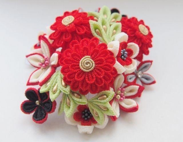 赤・丸菊のコームかんざし | 花ちりめん's Ownd
