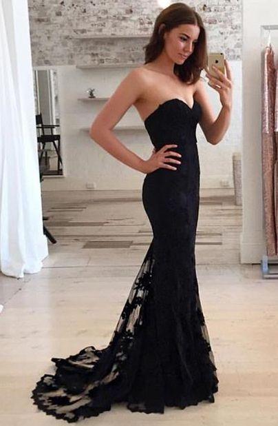 ff439826abc86 Charming Black Sweetheart Neck Lace Train Long Prom Dress, Black ...