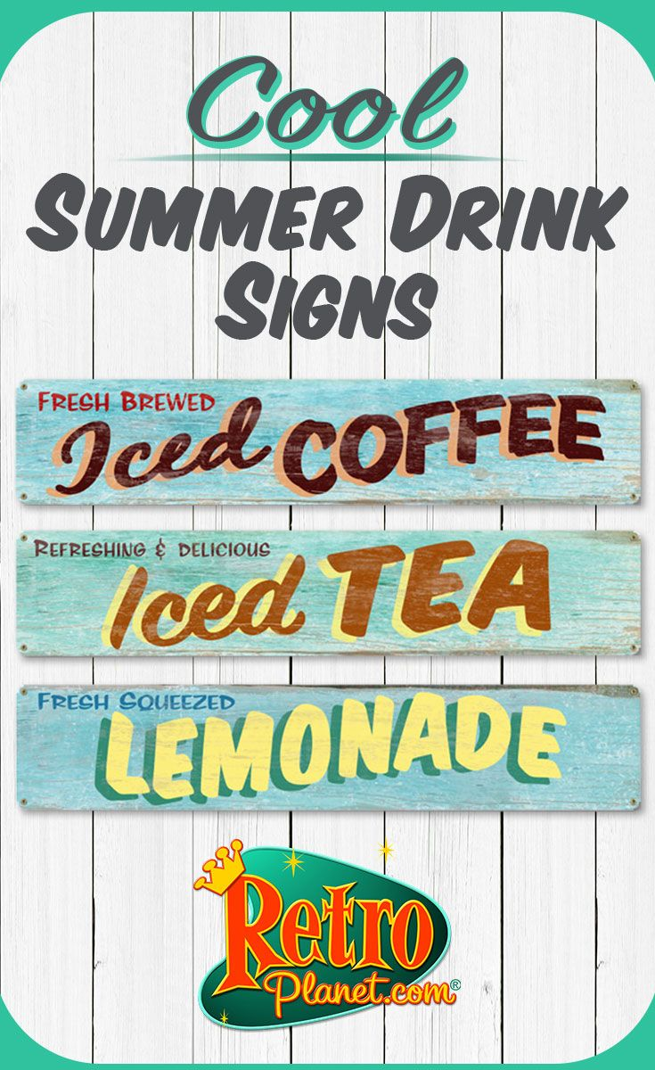 Iced Drinks Rustic Restaurant Metal Sign Set | DIY and crafts ...