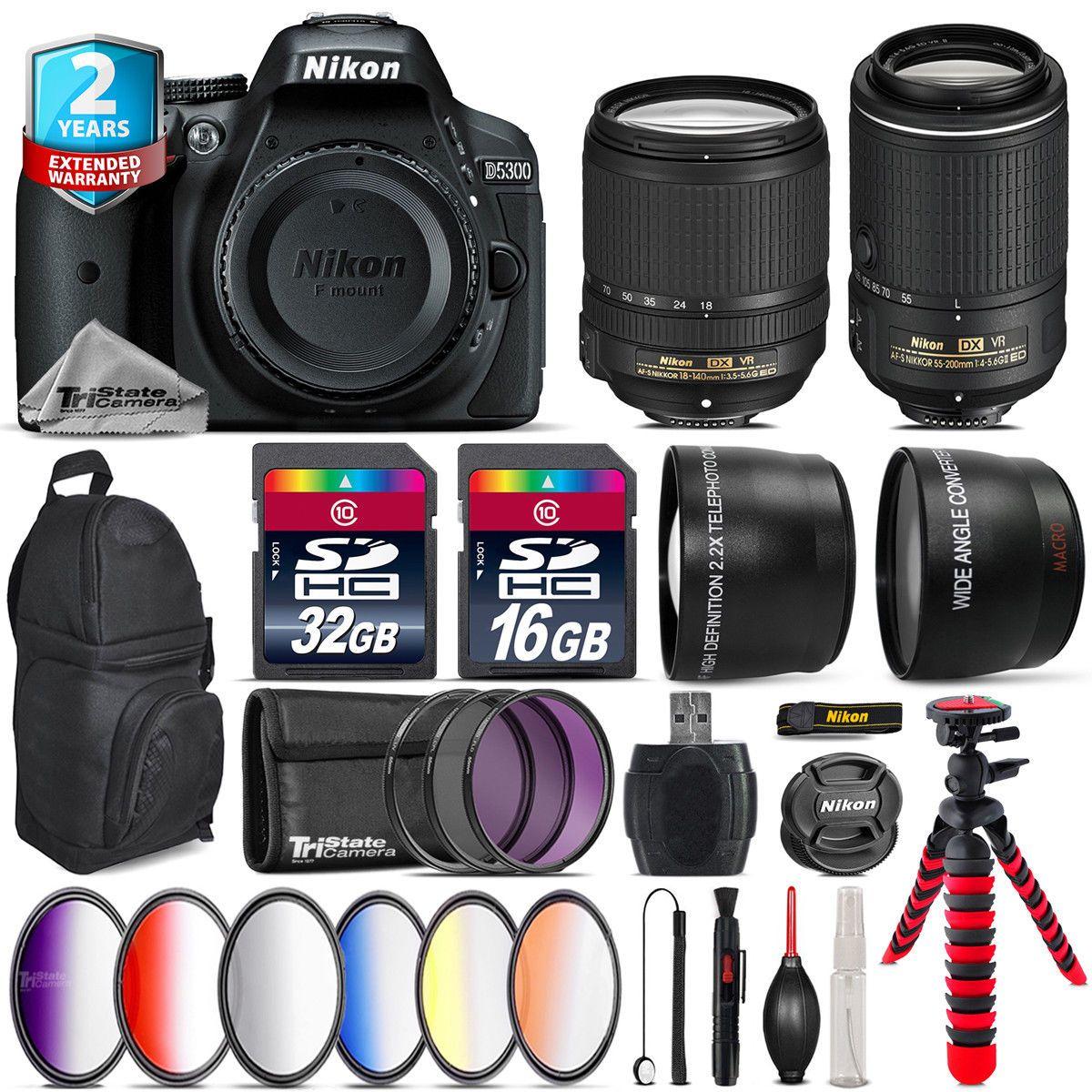 Nikon D5300 Dslr Afs 18 140mm Vr 55 200mm Backpack 48gb Kit Kamera Lensa Af S 55mm Ii