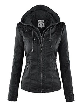 LL Womens Hooded Faux leather Jacket at Amazon Women's Coats Shop ...