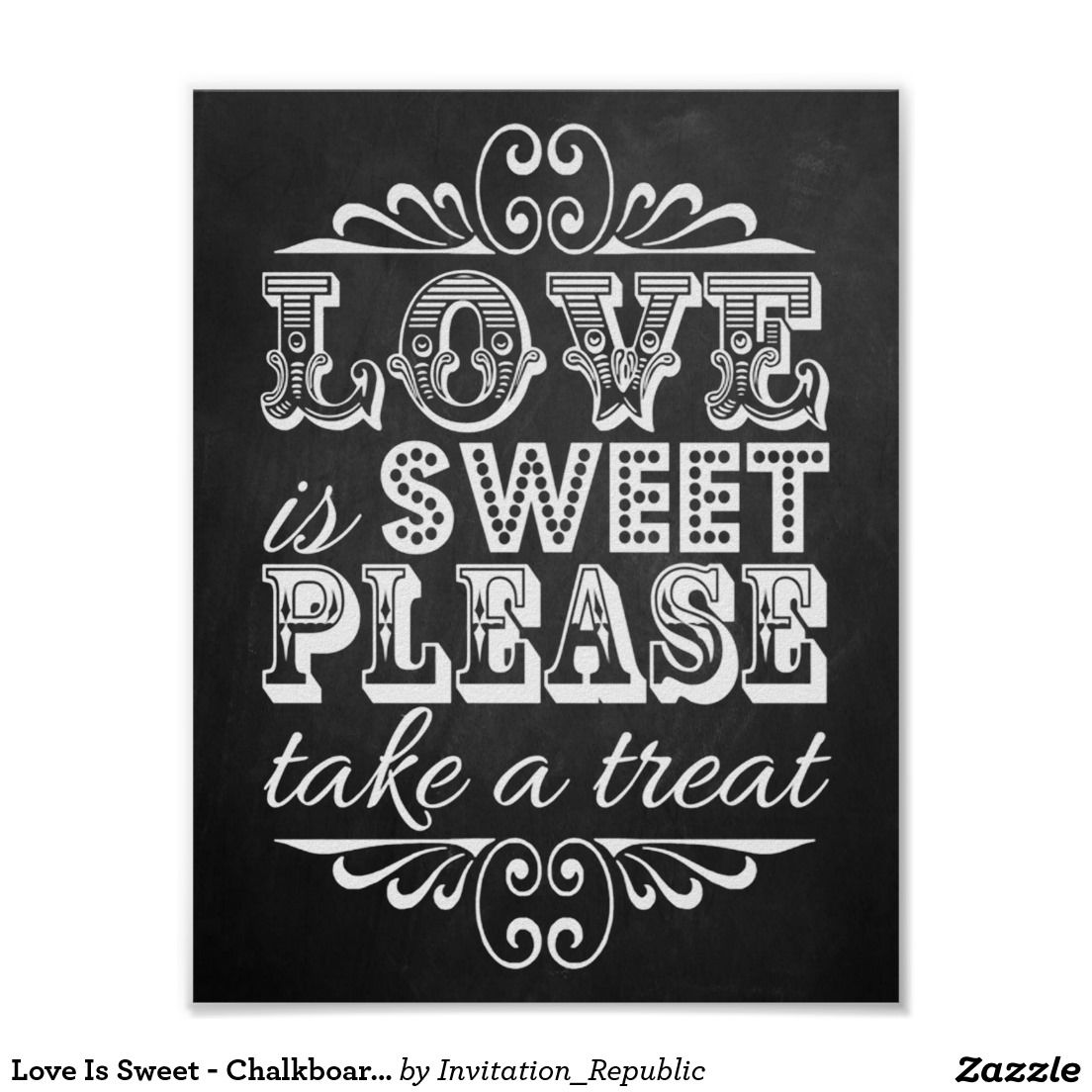 El amor es dulce - muestra del boda de la pizarra póster\