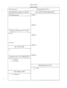 This Is A Simple Art Lesson Plan Template It Is An Efficient Way - Art lesson plan template