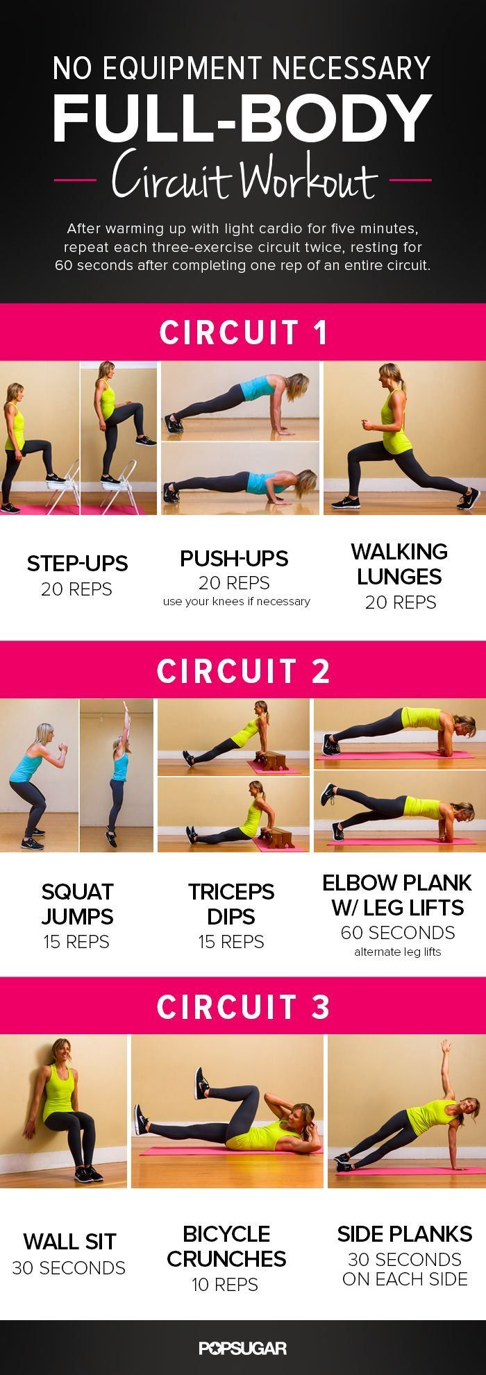 Printable FullBody Circuit Workout u No Equipment Needed Workout