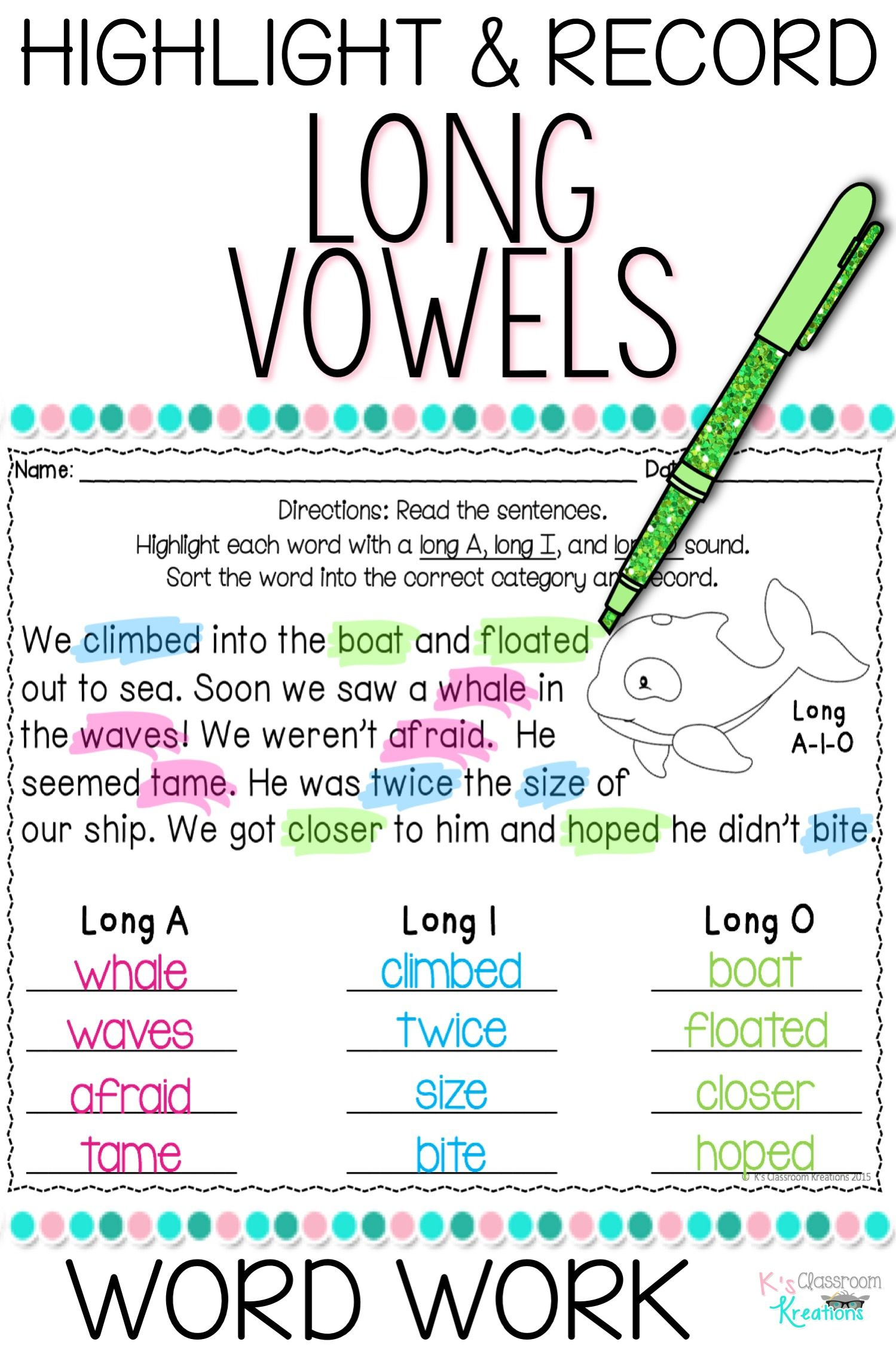 Long Vowel Word Work Highlight And Record Worksheets