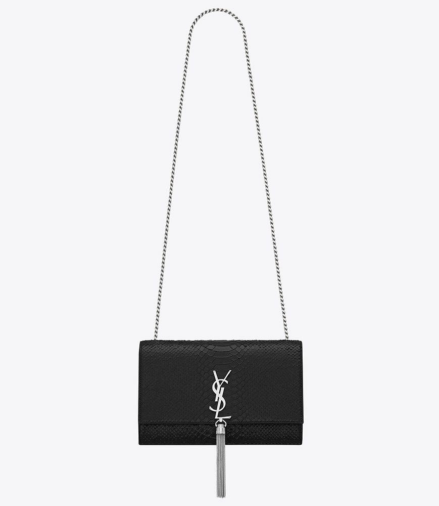 c5d6da4b3ba Saint Laurent Classic Medium Monogram Tassel Satchel in Black Python  Embossed Leather