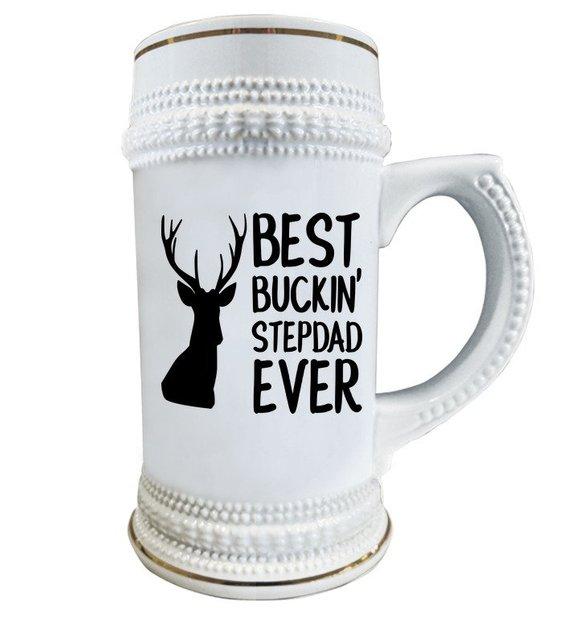 066e7f3b Funny Hunting Gift - Gift for Stepfather - Best Buckin' Stepdad Ever - Beer  Stein - Deer Hunter Gift