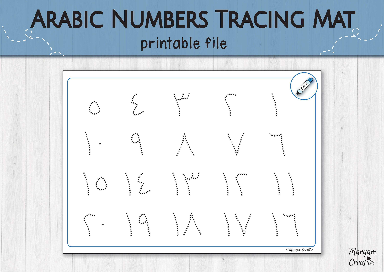 Arabic Numbers Tracing Mat Printable Arabic Numbers