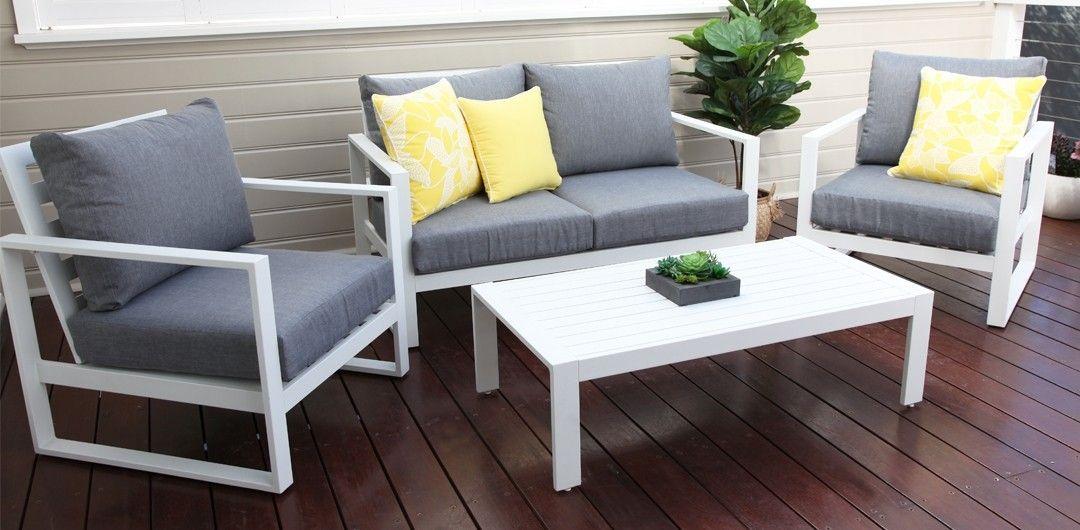 Palma 7 Piece Bar Setting White Grey Outdoor Furniture Outdoor
