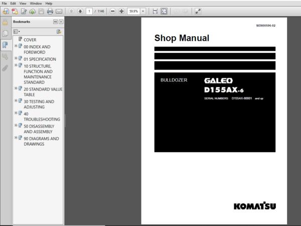 Komatsu D155ax 6 Bulldozer 80001 And Up Shop Manual Pdf Download Komatsu Manual Electrical Circuit Diagram
