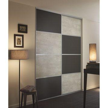 Porte De Placard Coulissante Spaceo 1 Vantail B Ton Gris Fonc L98 7 X H250 Cm Wardrobe Design Bedroom Bedroom Furniture Design Cupboard Design