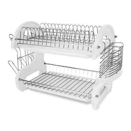 Home Basics 2 Tier Plastic Dish Drainer White Dish Drainers
