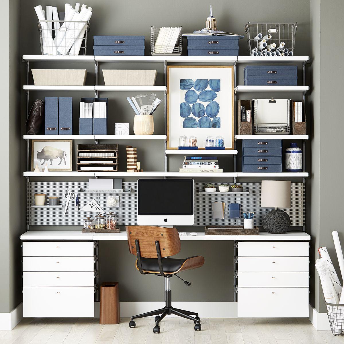 White U0026 Platinum Elfa Décor Office