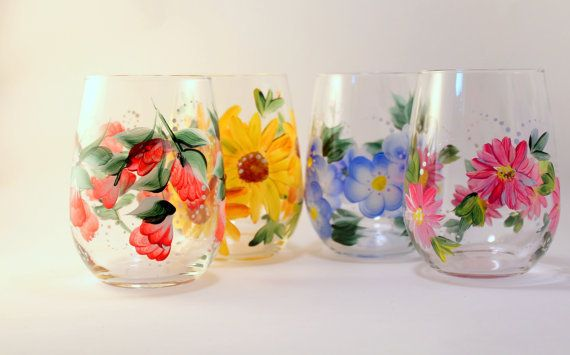 Hand Painted Wine Glasses Flowers Hand Painted Floral Wine Glasses