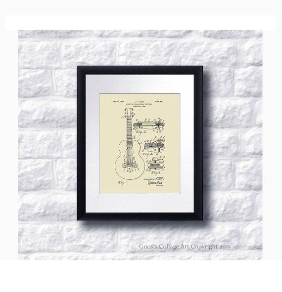 Vintage Gibson Guitar Bridge 1955 patent art print for home decor Gibson patent print #3 neutral wall art, mid century musical gear patent #gibsonguitars