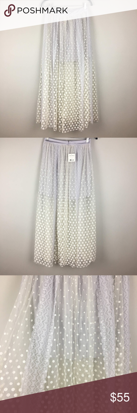 a13c9e8e8 Free People Dreaming of You Tutu Tulle Maxi Skirt NWT Free People polka dot  lace overlay gray/white skirt. Beautiful unique skirt!