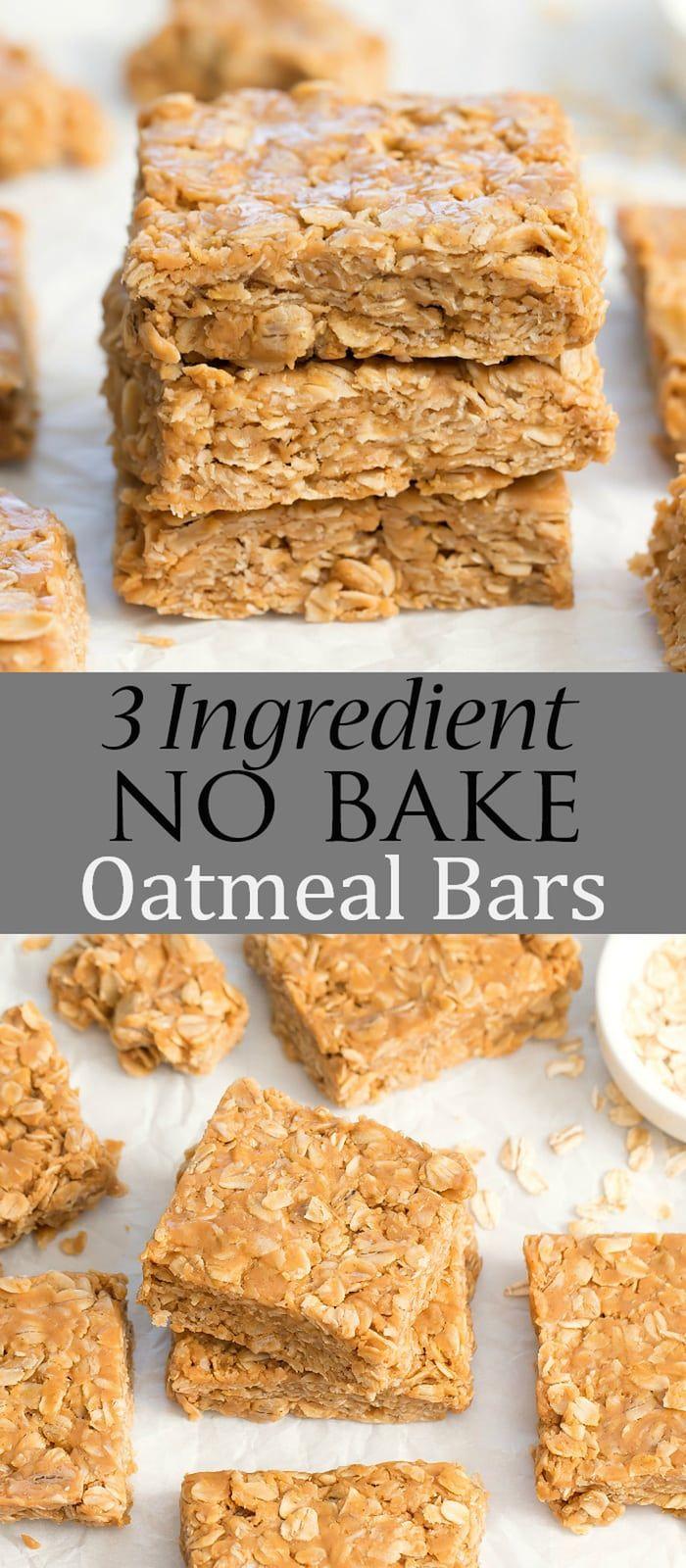 3 Ingredient No Bake Oatmeal Bars