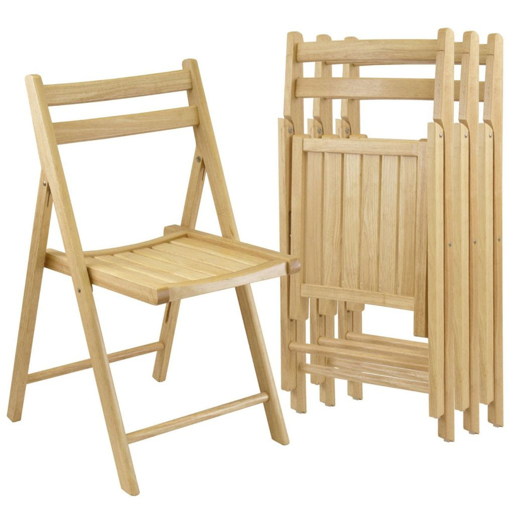 Wooden Folding Chairs Natural Finish Set Of 4 Outdoor Indoor Slated Seats