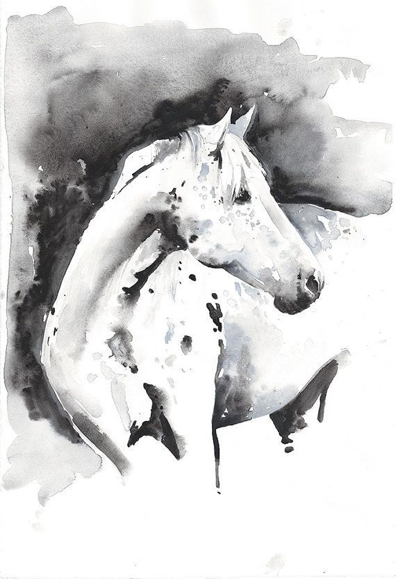 Print Of Watercolour Painting Horse Painting Horse Illustration