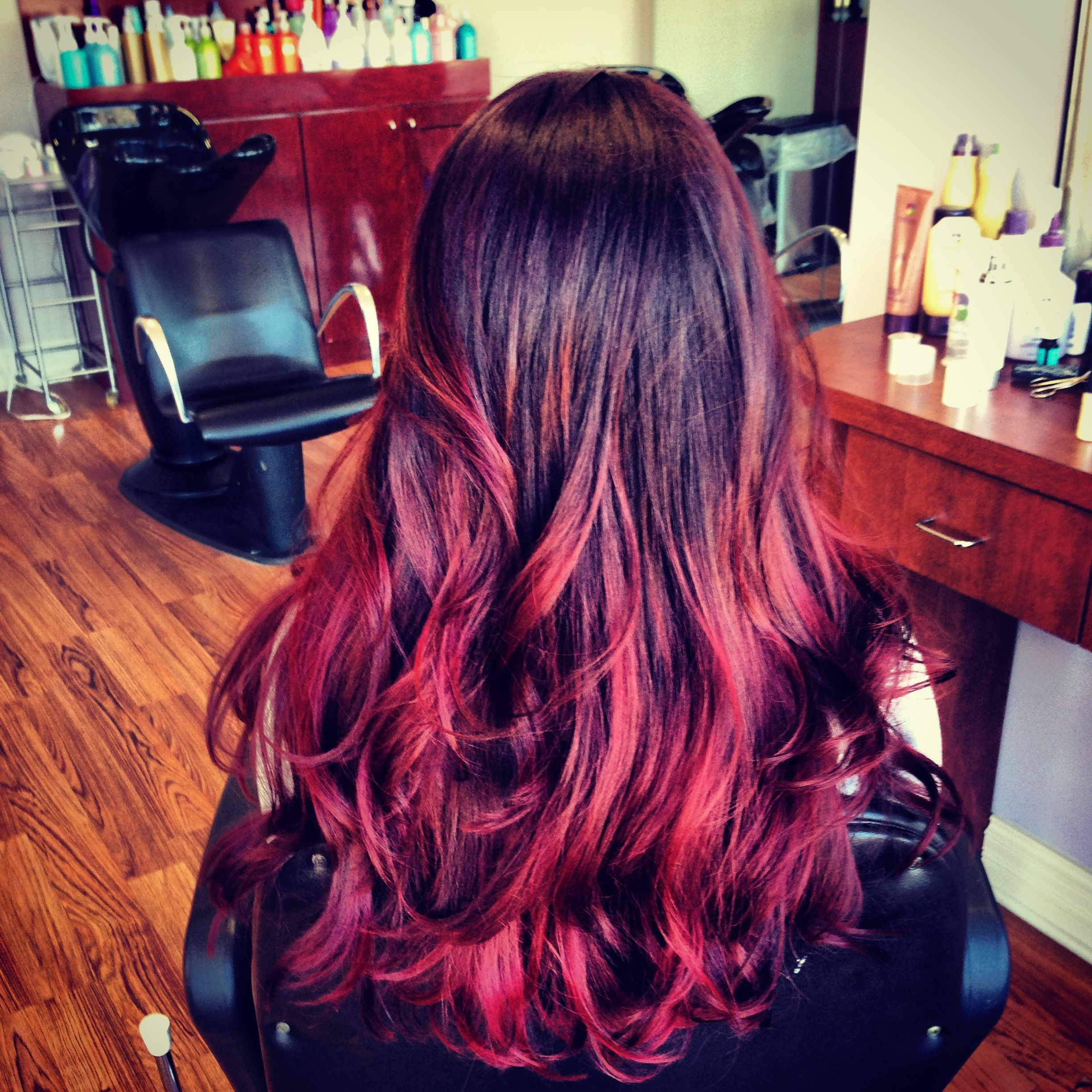 violet to red violet ombr hair color by molly romano at. Black Bedroom Furniture Sets. Home Design Ideas