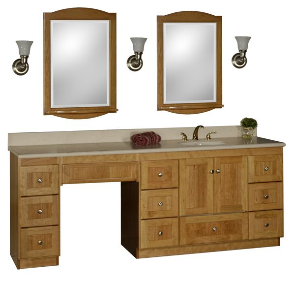 bathroom vanity with makeup vanity attached | choice of sink and