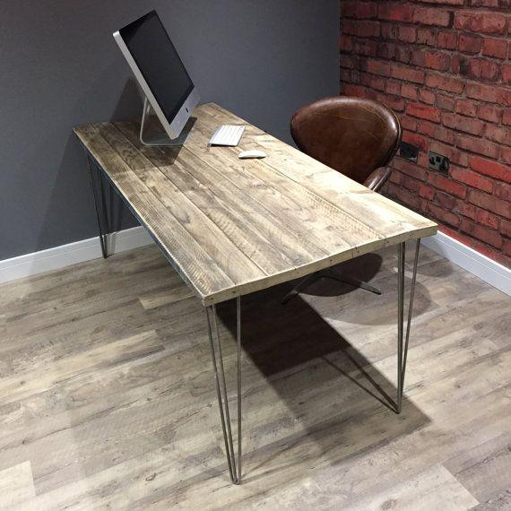 Reclaimed Industrial Scaffold Board Office Desk With Metal Hairpin