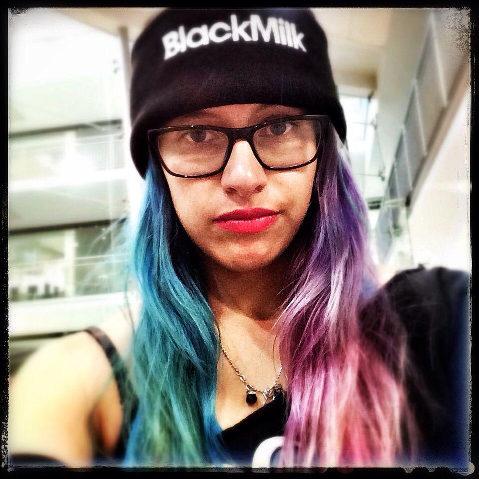 Blanca milk beanie half blue half purple pink hair dye crazy hair