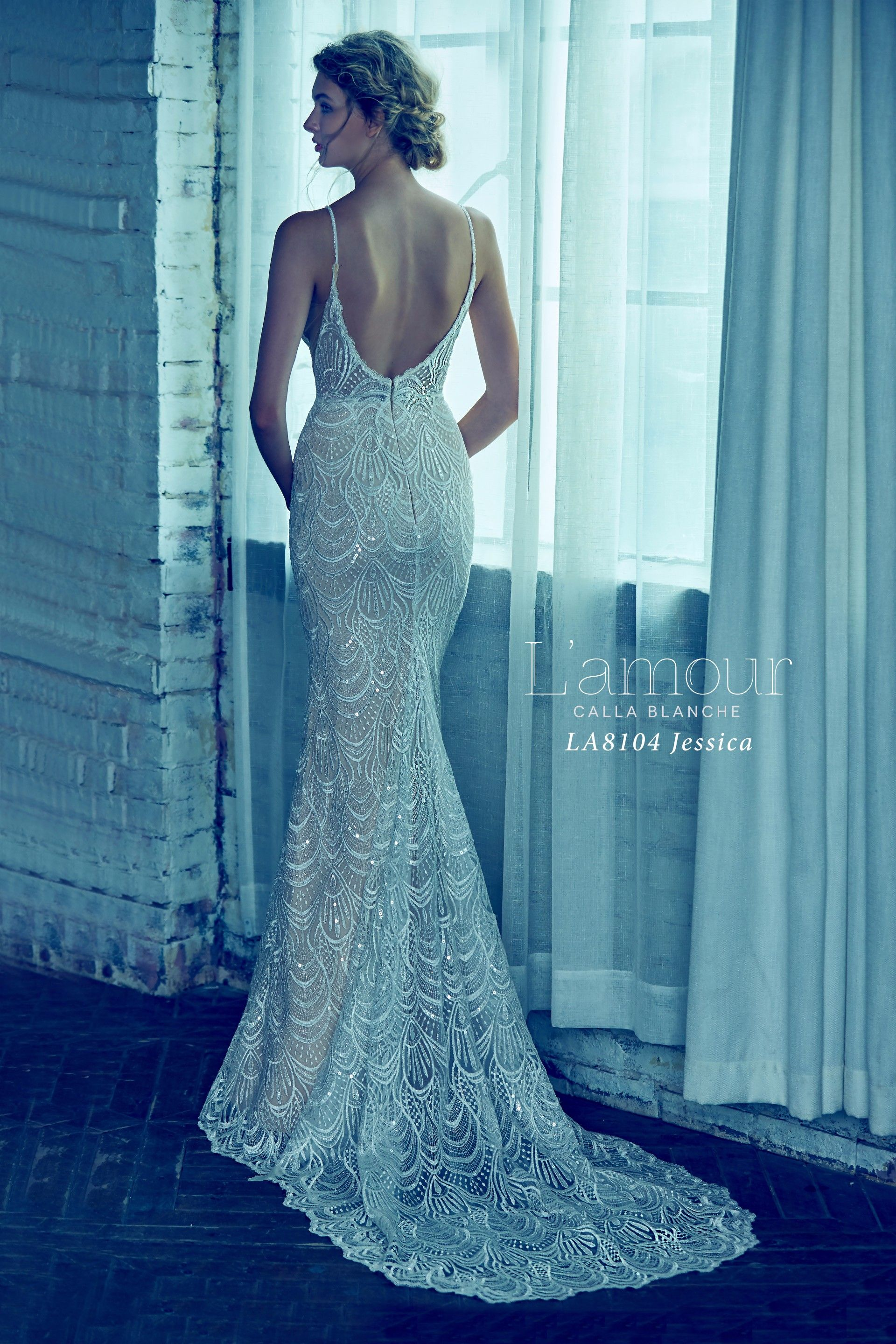 LA8104 Jessica Lace detailing with thin straps and open back ...
