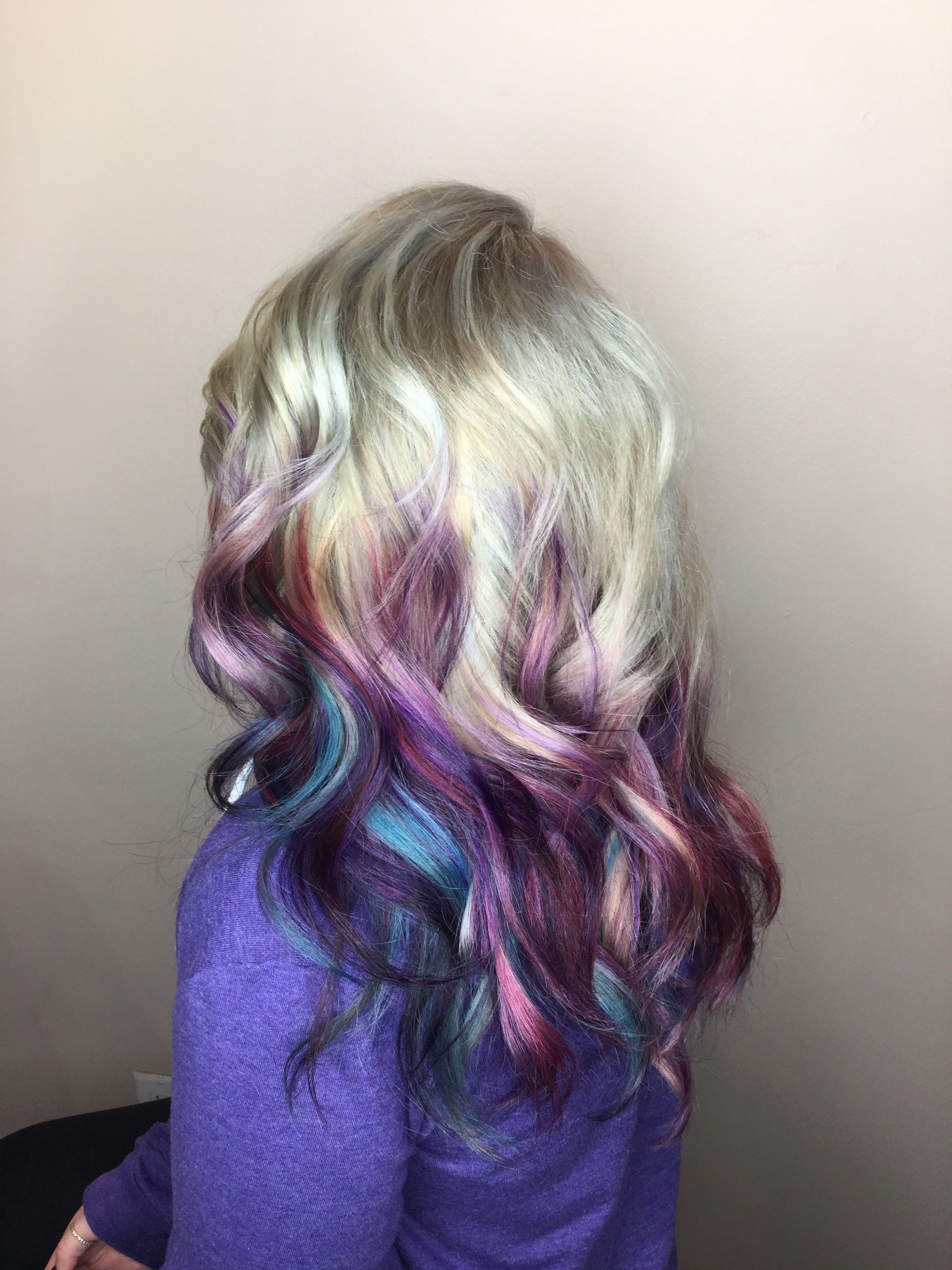White blonde with galaxy colors | Hair ideas in 2019 ...