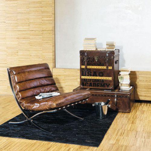 Fauteuil en cuir marron effet vieilli