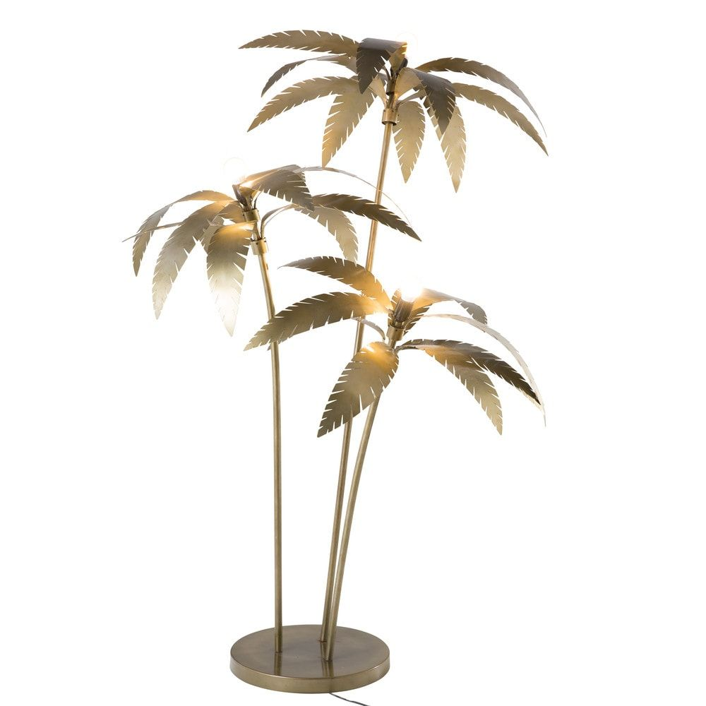 Staande Palmbomen Lamp Van Goudkleurig Metaal H 158 Cm