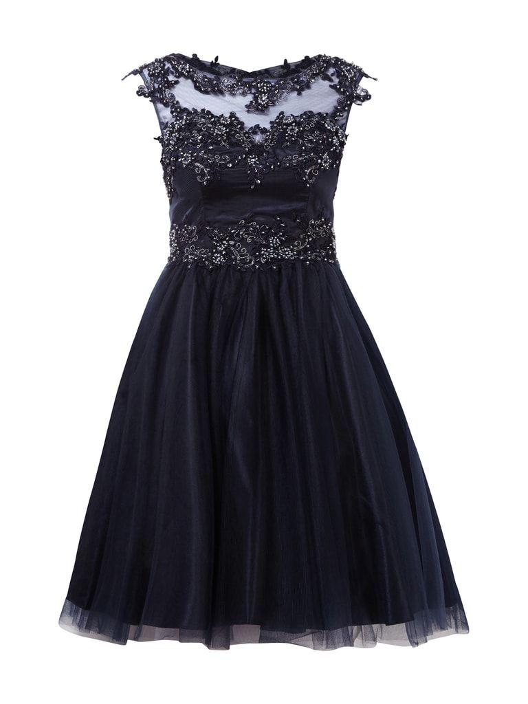 Cocktailkleid aus Mesh mit Ziersteinbesatz  Kleider, Schwarzes