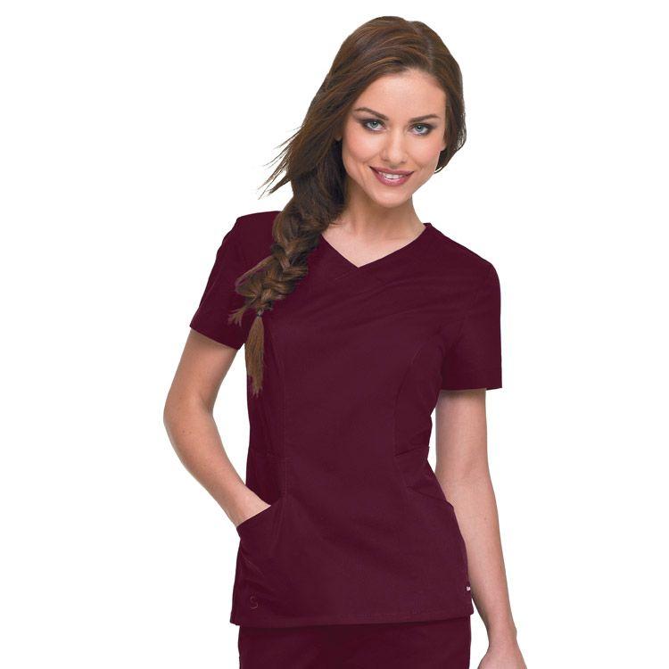 c5c66eb1e3c This V-neck scrub top has a deceptively clean look and lots of details. |  www.allheart.com #landau #allheart #scrubs #nurse