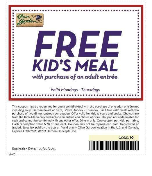 Free Kids Meal with Purchase of an Adult Entree at Olive Garden http://snip.ps/87X