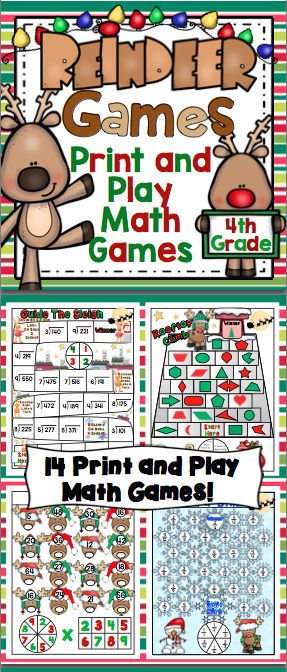 4th Grade Christmas Math Games Reindeer Games 4th Grade Christmas