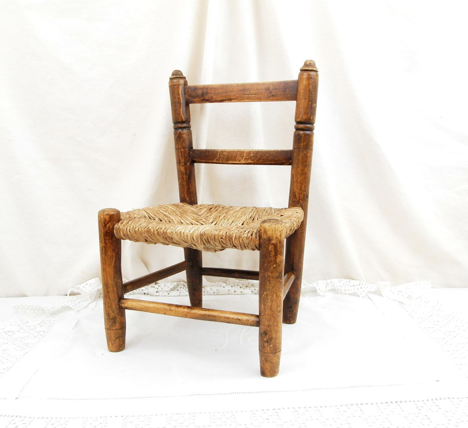 Antique French Small Wooden with Straw Seat Chair Child Seat