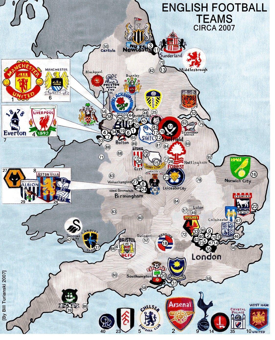 Maps Of England Olahraga Liga Inggris Inggris