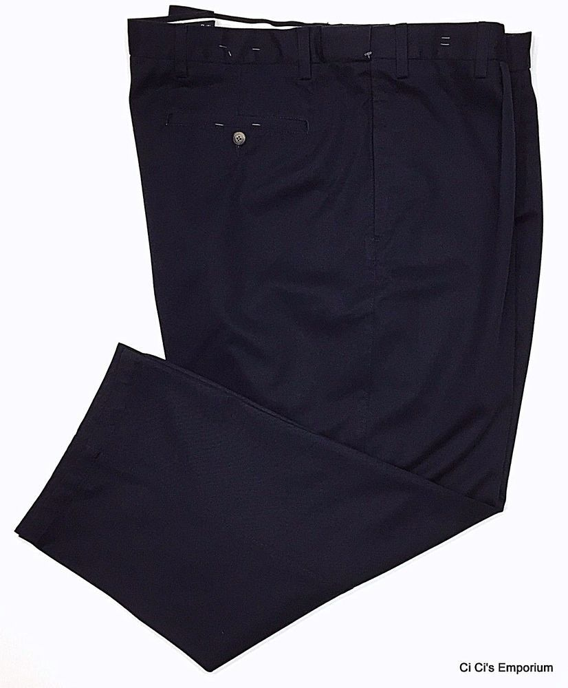 73164d00f9 St Johns Bay Worry Free Pleated Front Dress Pants Navy Blue 54 x 29 Relaxed  Fit #StJohnsBay #DressPleat
