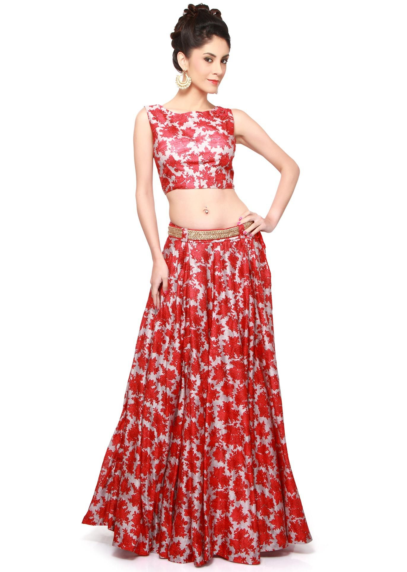 1cb9800a73b Red and grey lehenga with crop top matched with belt only on Kalki ...