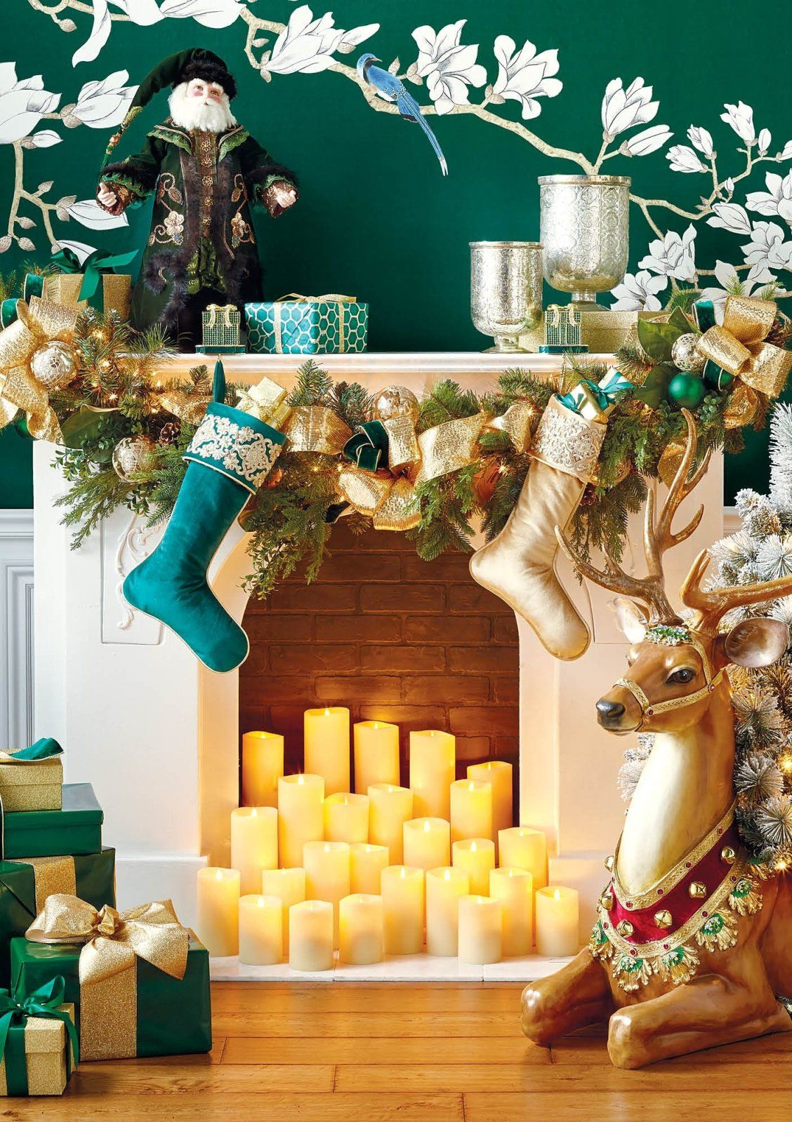 hues of emerald and gold define this opulent collection that includes greenery for every surface and