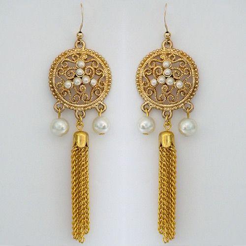 Indian inspired gold pearl medallion earrings finished with a indian inspired gold pearl medallion earrings finished with a tassel aloadofball Gallery