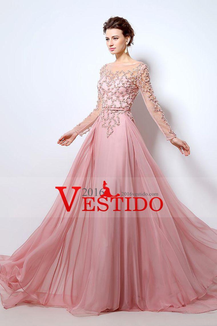 2016 vestidos de baile Una línea de barrido cuchara / cepillo de ...