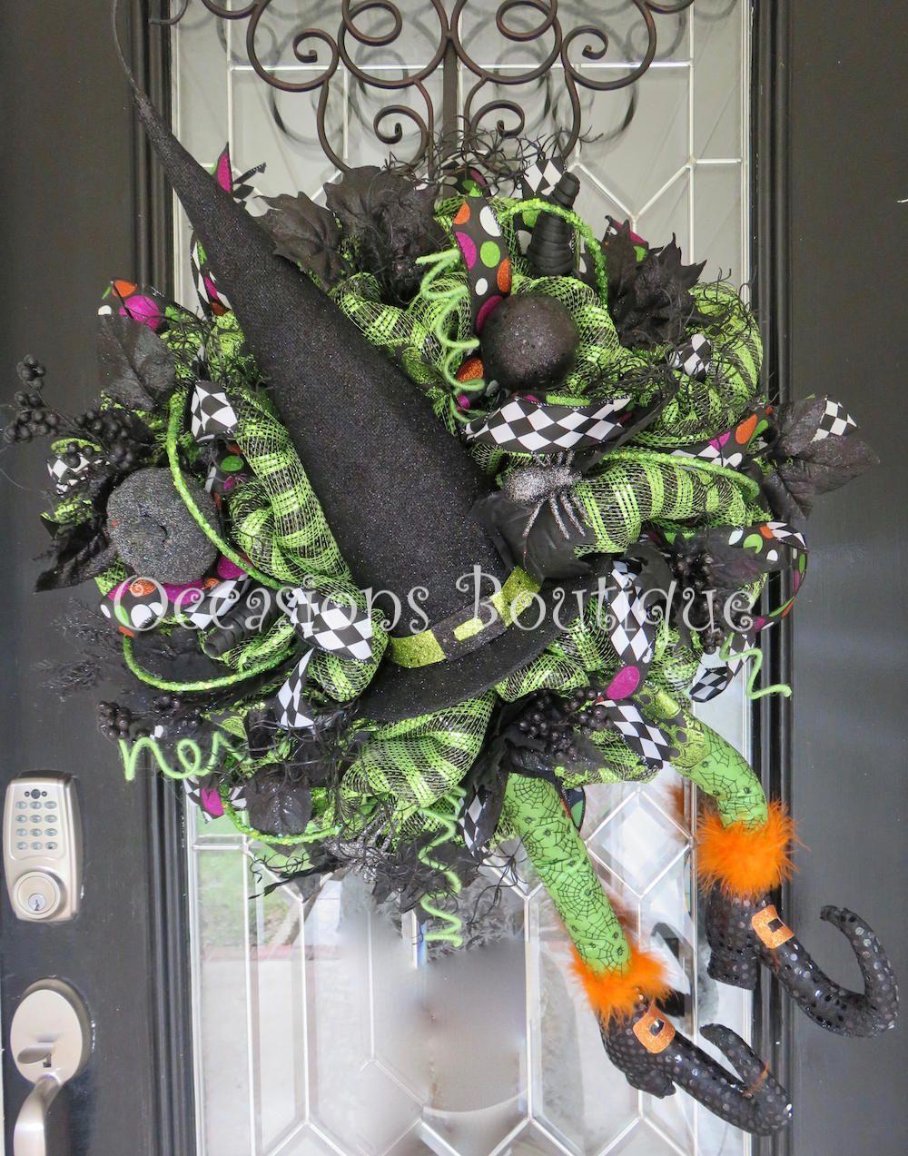 Halloween Witch Wreath, Halloween Party Decoration, Halloween Door - halloween front door decor